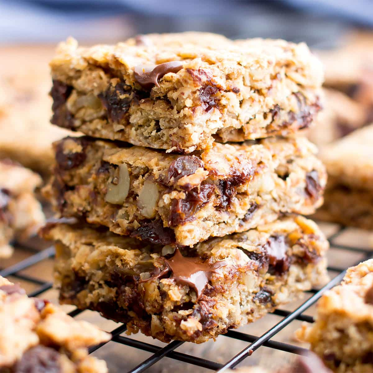 Image for Gluten Free Banana Chocolate Chip Oatmeal Breakfast Bars (Vegan, One Bowl, GF, DF) - Beaming Baker