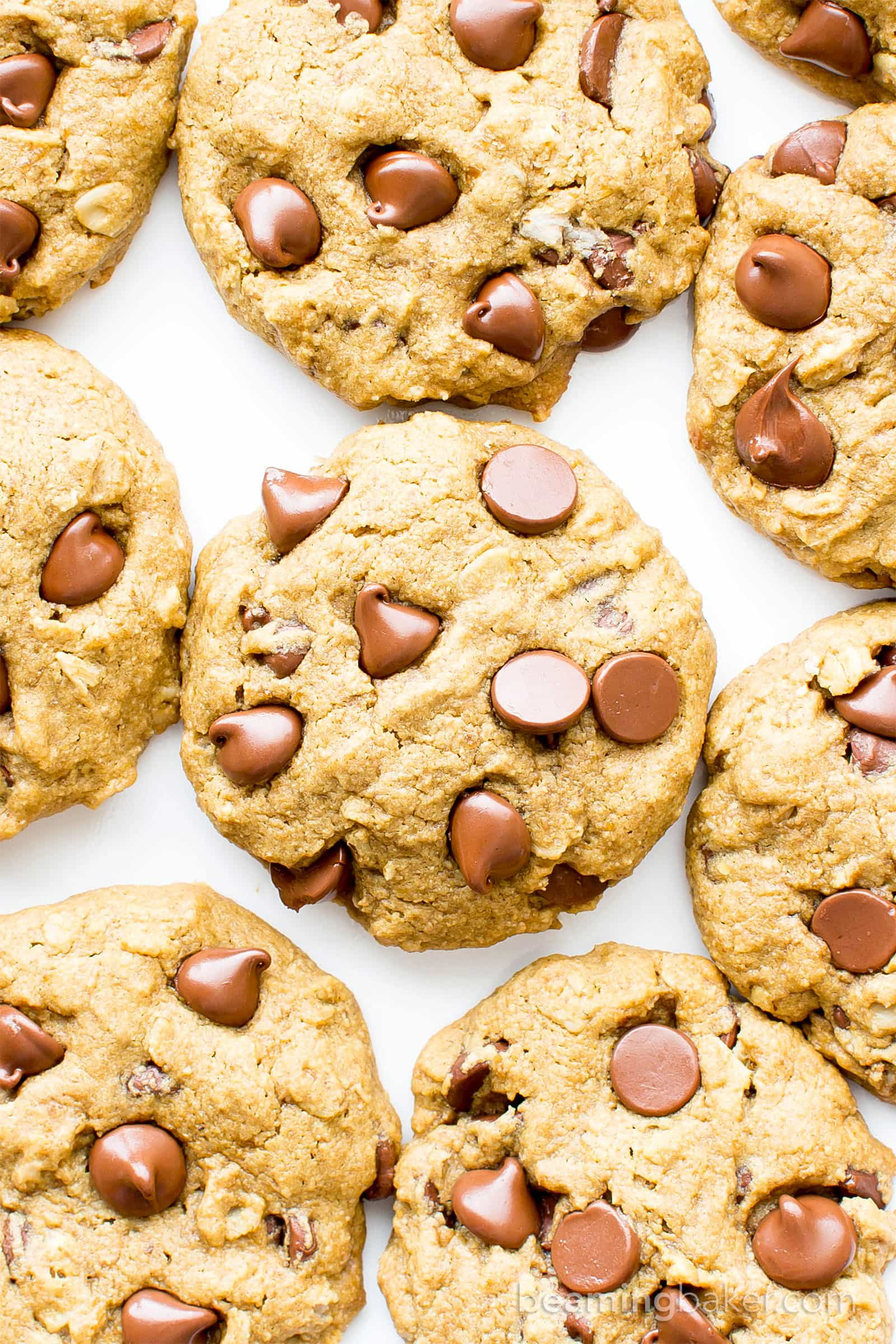 Gluten Free Vegan Oat Flour Chocolate Chip Cookies (V, GF): an easy recipe for simply delicious, soft, chewy chocolate chip cookies made with oat flour. #Vegan #GlutenFree #DairyFree #OatFlour | BeamingBaker.com