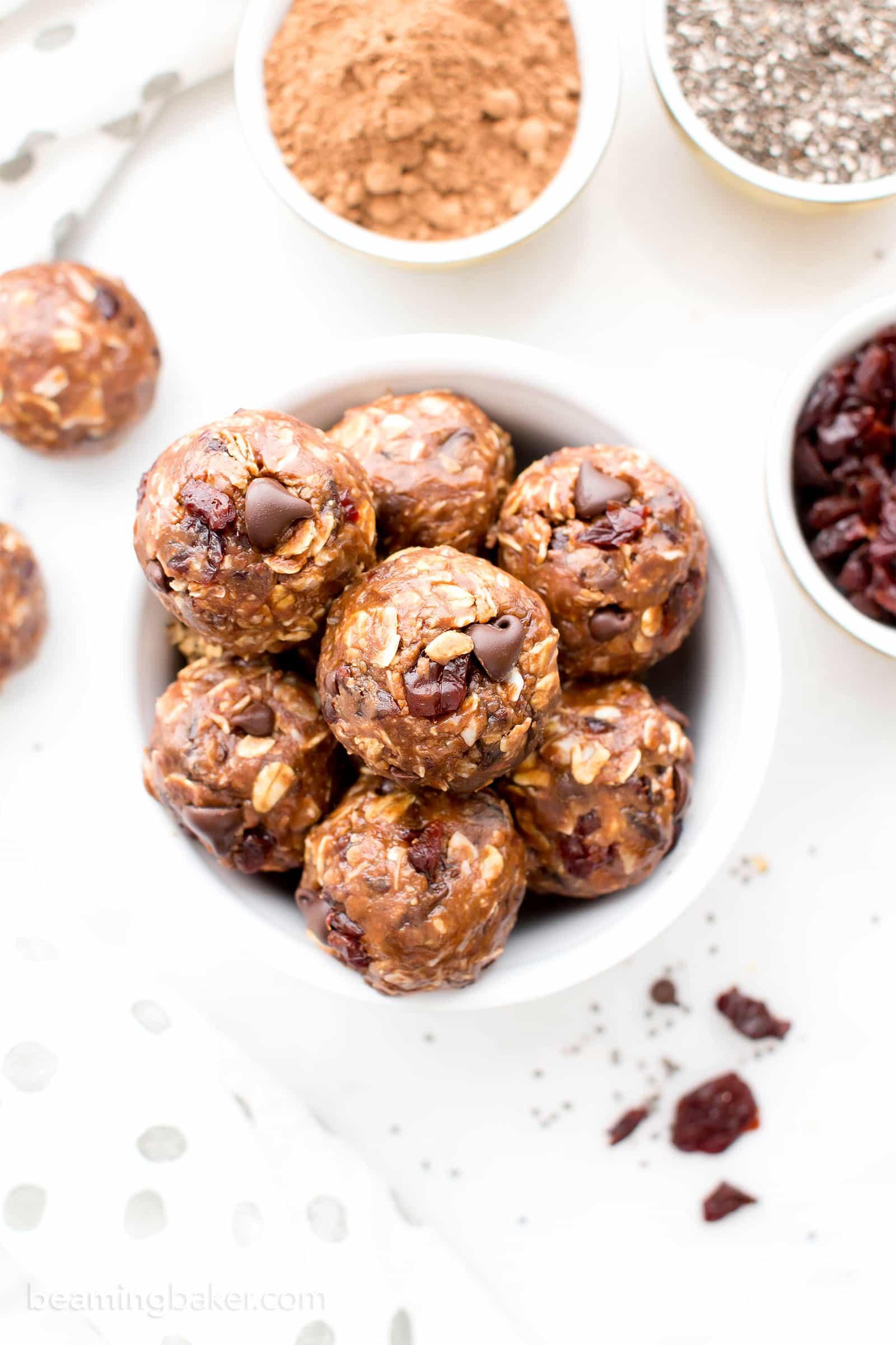 No Bake Double Chocolate Cherry Coconut Energy Bites Vegan Gluten