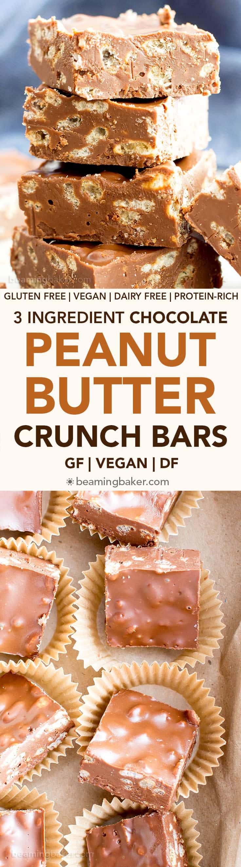 3 Ingredient Chocolate Peanut Butter Crunch Bars (V, GF): a one bowl recipe for rich, decadent chocolate peanut butter bars bursting with crispy crunch. #Vegan #GlutenFree #DairyFree   BeamingBaker.com