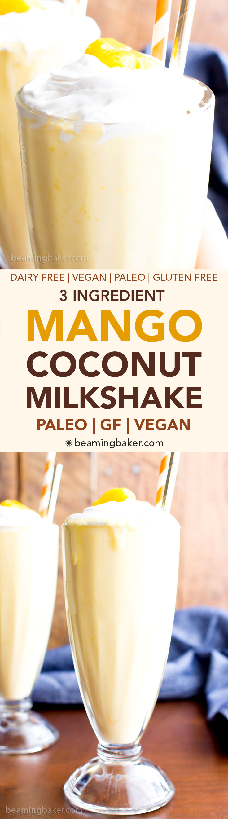 3 Ingredient Mango Coconut Paleo Milkshake (V, GF, Paleo): an easy, 3 ingredient recipe for super thick and frosty mango coconut milkshakes! #Paleo #Vegan #DairyFree #GlutenFree | BeamingBaker.com