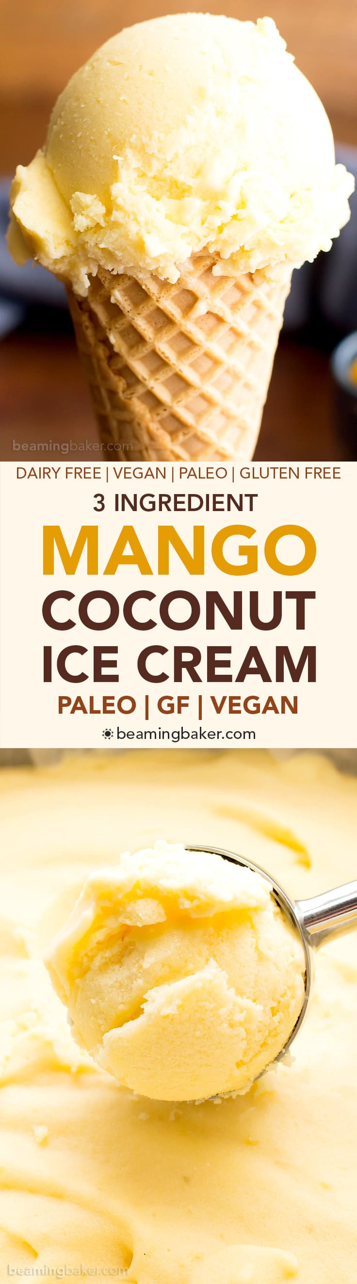 3 Ingredient Mango Coconut Vegan Ice Cream (V, DF, Paleo): an easy, no-churn recipe for deliciously creamy mango ice cream bursting with coconut flavor! #DairyFree #Paleo #Vegan #GlutenFree | BeamingBaker.com