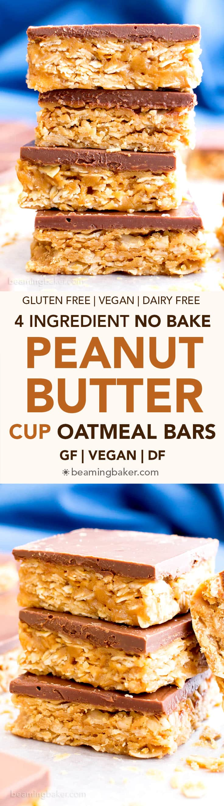 4 Ingredient No Bake Chocolate Peanut Butter Cup Granola Bars (GF, V): an easy, protein-rich recipe for decadent PB granola bars covered in chocolate, made with whole ingredients. #Vegan #ProteinPacked #GlutenFree #DairyFree #WholeGrain | BeamingBaker.com