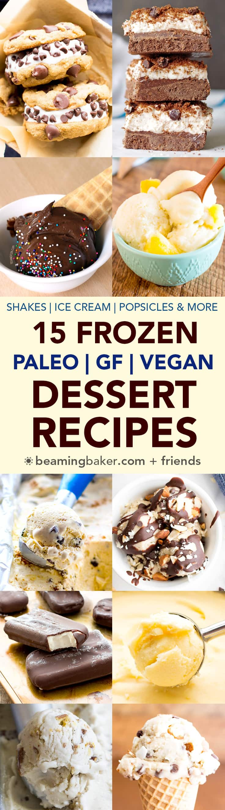 15 Delicious Paleo Vegan Frozen Desserts (V, GF, DF): a roundup of easy paleo vegan frozen dessert recipes to cool you down this summer! #Paleo #Vegan #DairyFree #GlutenFree | BeamingBaker.com
