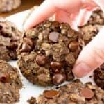 Gluten Free Double Chocolate Chip Oatmeal Cookies (V, GF): an easy recipe for soft, chewy double chocolate chip oatmeal cookies made with whole ingredients. #Vegan #GlutenFree #DairyFree #WholeGrain #OatFlour | BeamingBaker.com