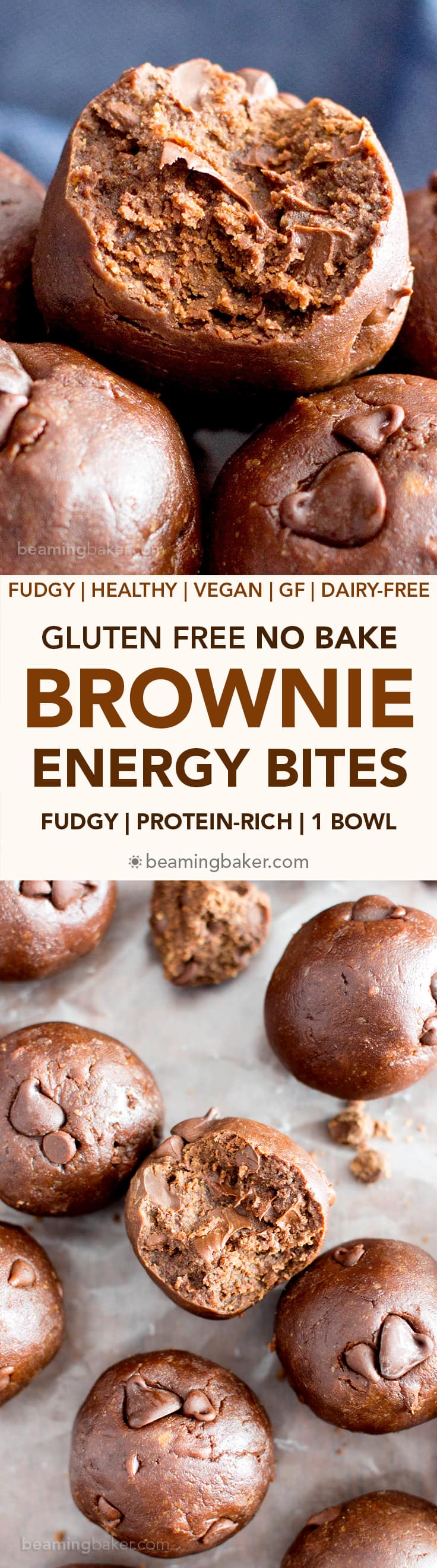 Gluten Free No Bake Brownie Energy Bites (V, GF): a one bowl recipe for fudgy, rich, 7-ingredient no bake bites that taste just like decadent brownies. #Vegan #ProteinPacked #GlutenFree #DairyFree | BeamingBaker.com
