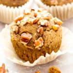 Gluten Free Maple Pecan Pumpkin Muffins (V, GF): an easy recipe for deliciously moist, pumpkin spice muffins topped with maple glazed pecans. #Vegan #GlutenFree #DairyFree #Healthy #Fall #RefinedSugarFree | BeamingBaker.com