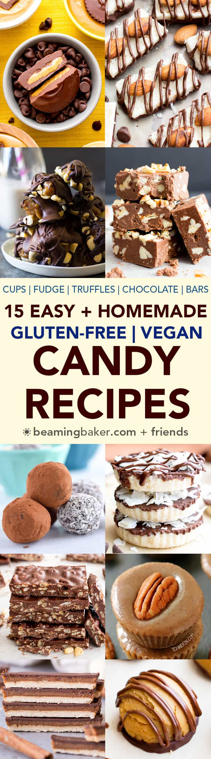 15 Easy Gluten Free Vegan Homemade Candy Recipes (V, GF): a decadent collection of the tastiest homemade candy recipes to satisfy your sweet tooth! #Vegan #GlutenFree #DairyFree #Paleo #Candy #Dessert | BeamingBaker.com