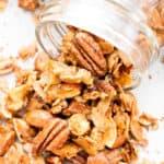 Oil-Free Paleo Cinnamon Nut Granola (V, GF): Crispy, crunchy homemade paleo granola perfectly spiced with warm, cozy cinnamon. #Vegan #GlutenFree #DairyFree #Paleo #Granola #Healthy #Snacks | Recipe on BeamingBaker.com