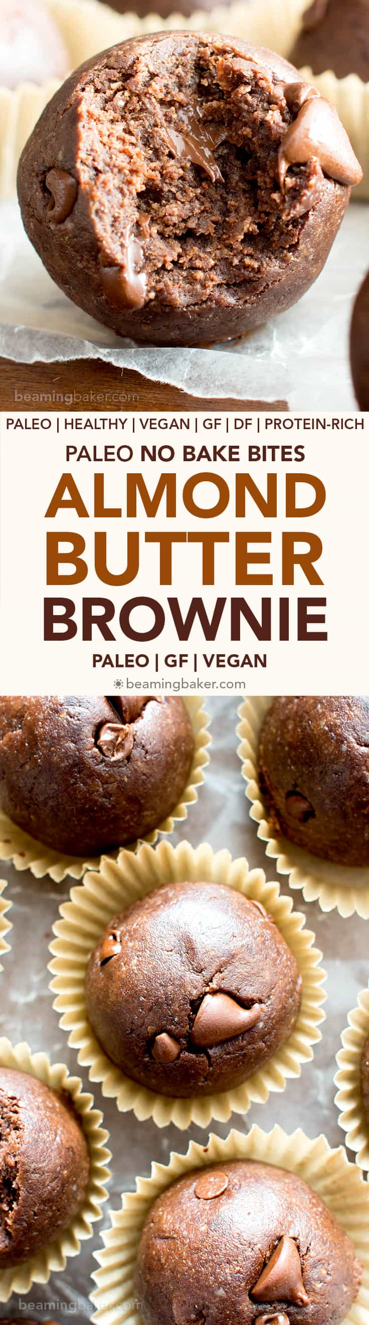 No Bake Almond Butter Paleo Brownie Bites (V, GF): Melt in your mouth fudgy paleo brownie bites that taste like a bite of pure chocolate. #Vegan #Paleo #DairyFree #GlutenFree #Chocolate | Recipe on BeamingBaker.com