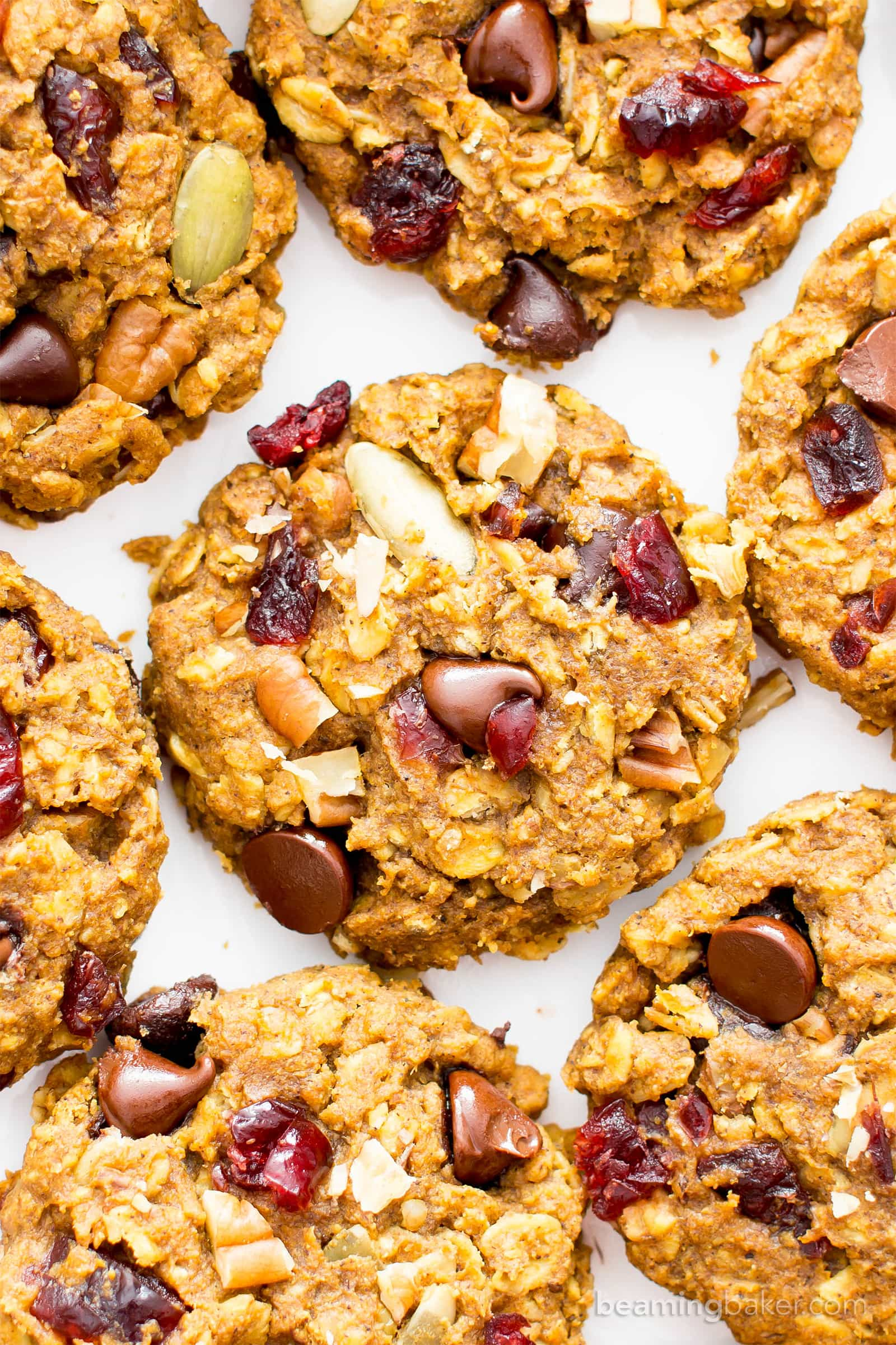 pumpkin chocolate chip oatmeal breakfast cookies (vegan, gluten free