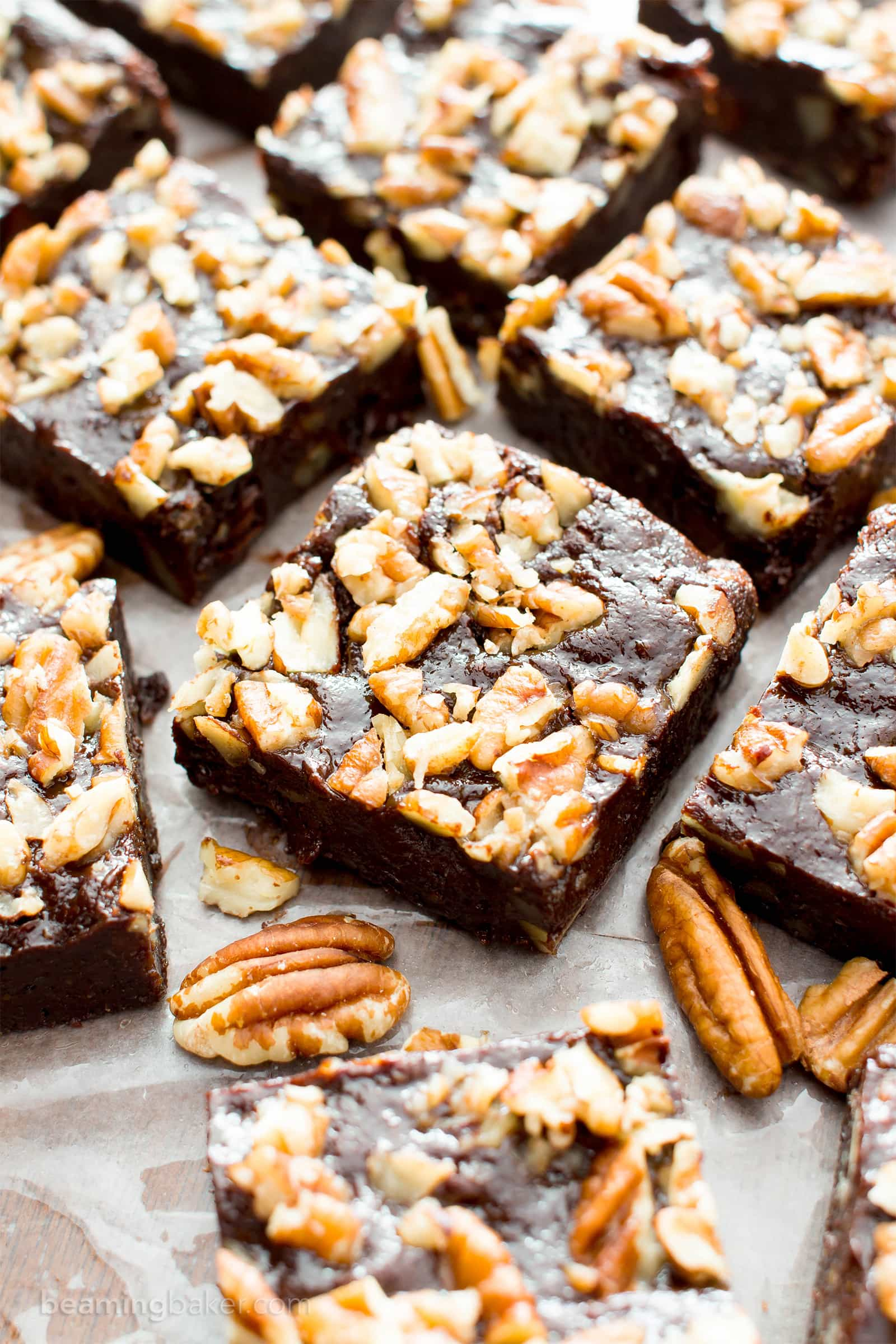 Super Fudgy Paleo Maple Pecan Brownies (V, GF): supremely fudgy chocolate brownies topped with delightfully sweet maple pecans. #Paleo #Vegan #GlutenFree #DairyFree #Chocolate #Dessert | Recipe on BeamingBaker.com