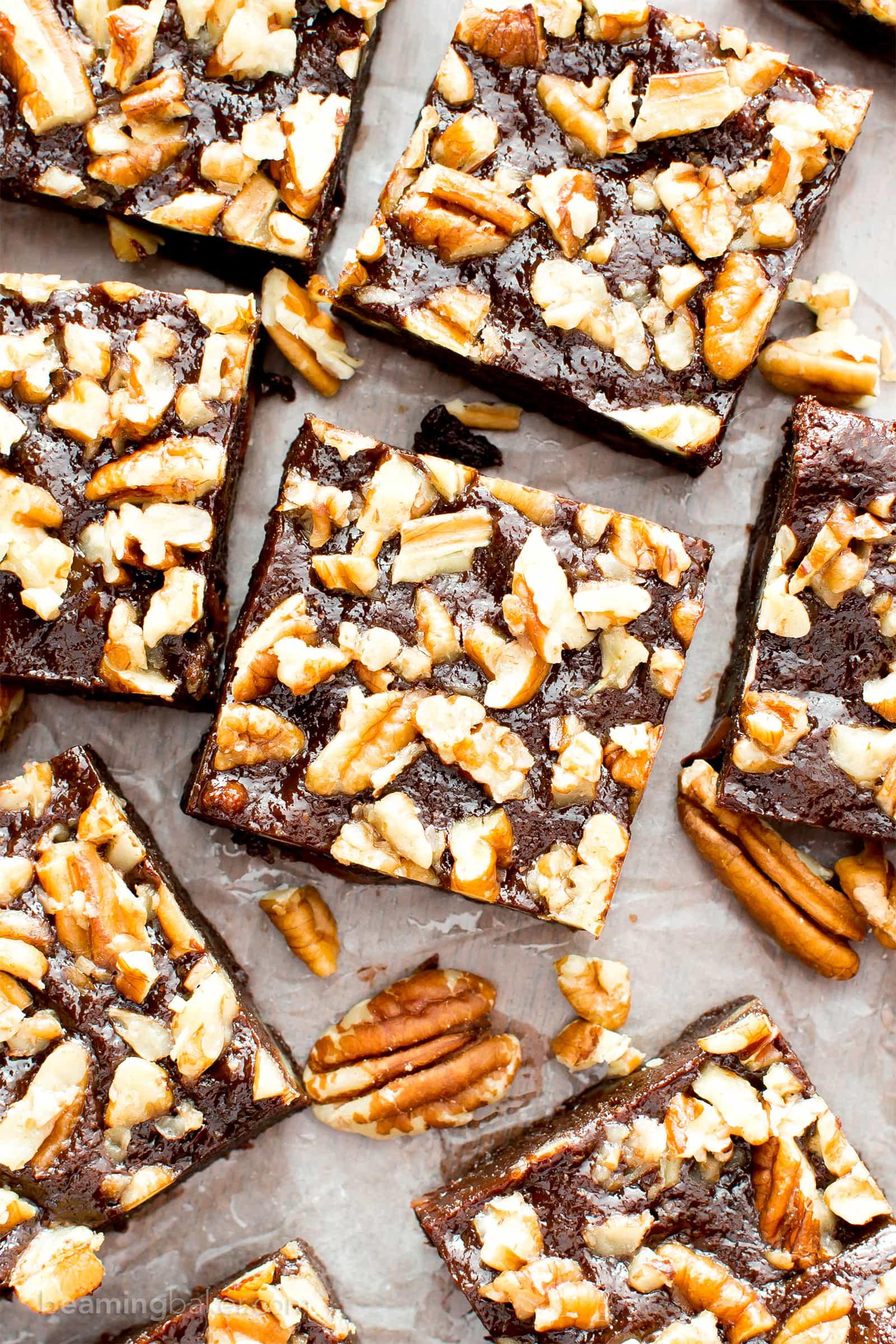 Super Fudgy Paleo Maple Pecan Brownies (V, GF): supremely fudgy chocolate brownies topped with delightfully sweet maple pecans. #Paleo #Vegan #GlutenFree #DairyFree #Chocolate #Dessert | Recipe on BeamingBaker.com