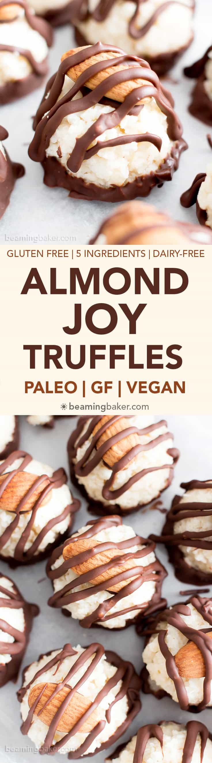 Paleo Vegan Almond Joy Truffles (V, GF): a fun recipe for homemade candy truffles that taste just like Almond Joy! #Vegan #GlutenFree #Paleo #Candy #Dessert | Recipe on BeamingBaker.com