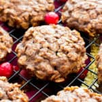 Gluten Free Gingerbread Oatmeal Breakfast Cookies (V, GF): an easy recipe for lightly sweet, soft and chewy ginger oatmeal cookies bursting with your favorite warm holiday spices! #Vegan #GlutenFree #Christmas #DairyFree #Holiday #Healthy | Recipe on BeamingBaker.com