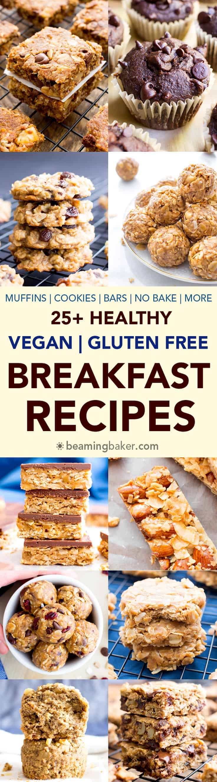 25+ Healthy Gluten Free Breakfast Recipes (V, GF): A satisfying collection of nutritious, gluten free vegan healthy breakfast recipes to help you start your day off right! #Vegan #GlutenFree #DairyFree #Breakfast #Healthy | BeamingBaker.com