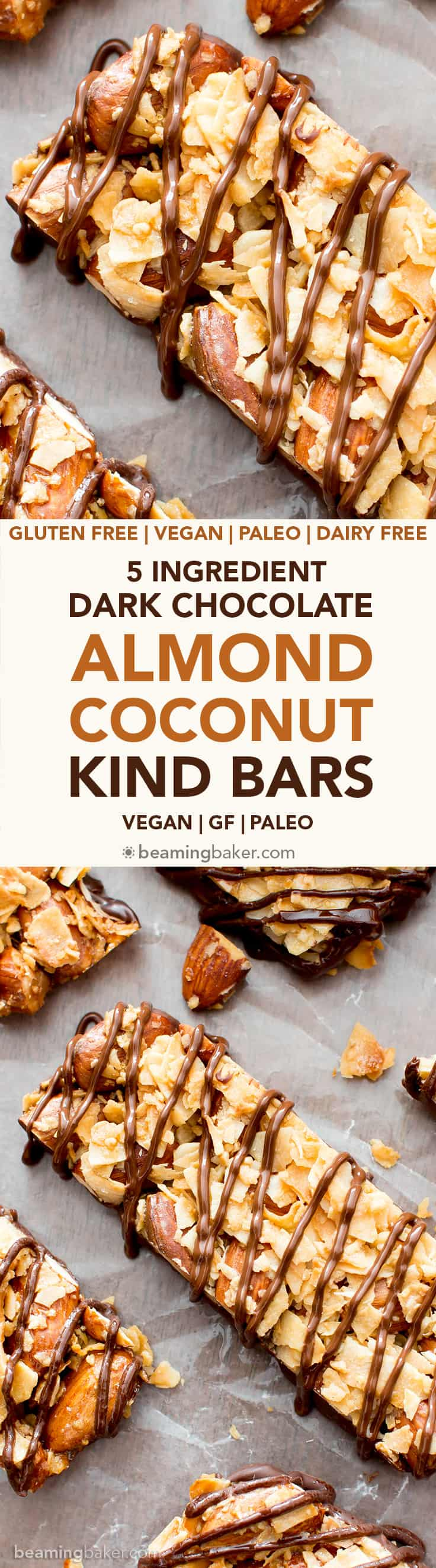 5 Ingredient Dark Chocolate Almond & Coconut Homemade KIND Bars (V, GF): an easy recipe for homemade KIND bars coated in a rich layer of chocolate. #Paleo #Vegan #GlutenFree #Healthy #DairyFree #Chocolate #Snacks | Recipe on BeamingBaker.com