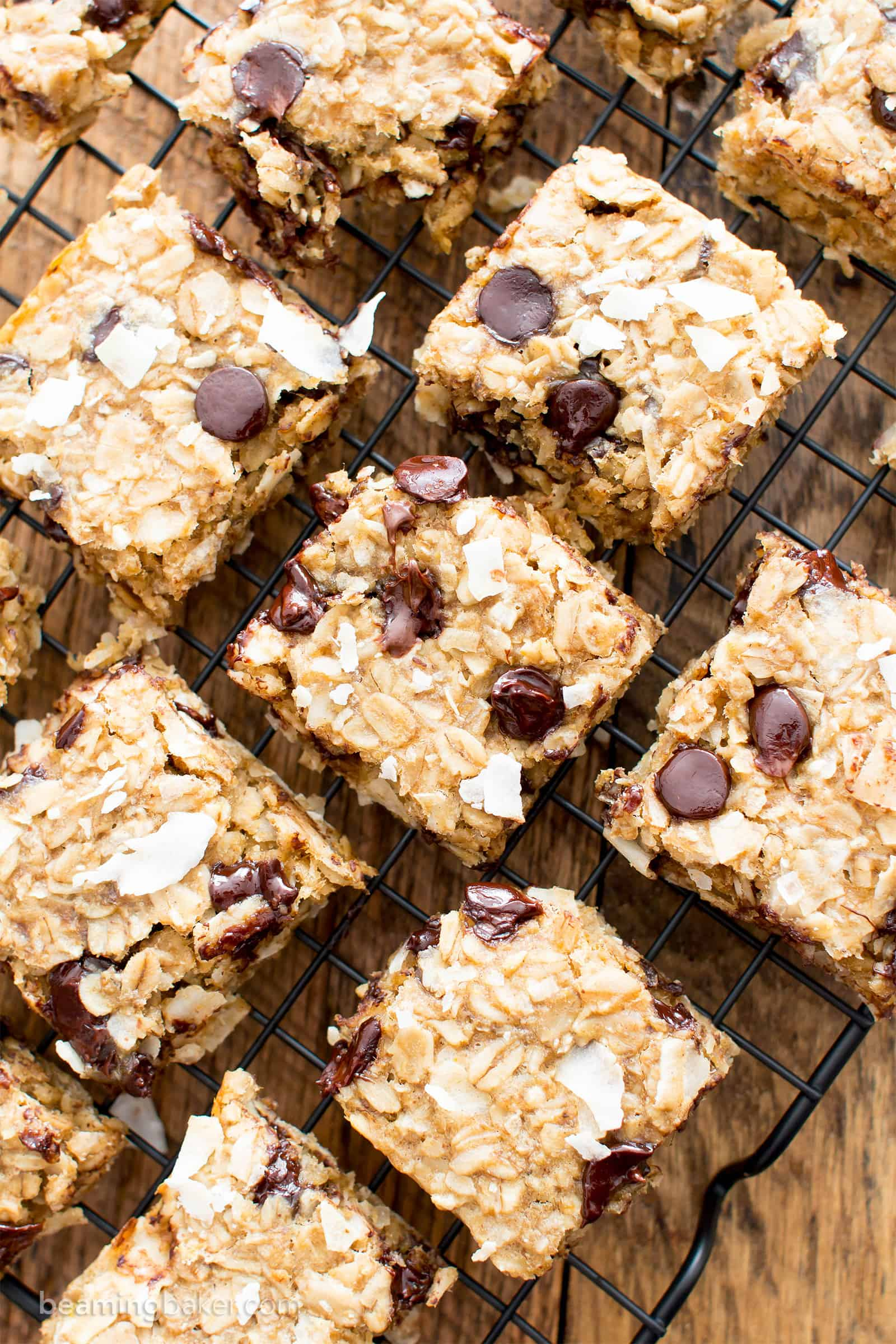 Easy Gluten Free Coconut Chocolate Chip Banana Breakfast Bars (V, GF): a quick and easy recipe for healthy homemade breakfast bars made with simple, whole ingredients. #Vegan #GlutenFree #DairyFree #Healthy #Breakfast | Recipe on BeamingBaker.com
