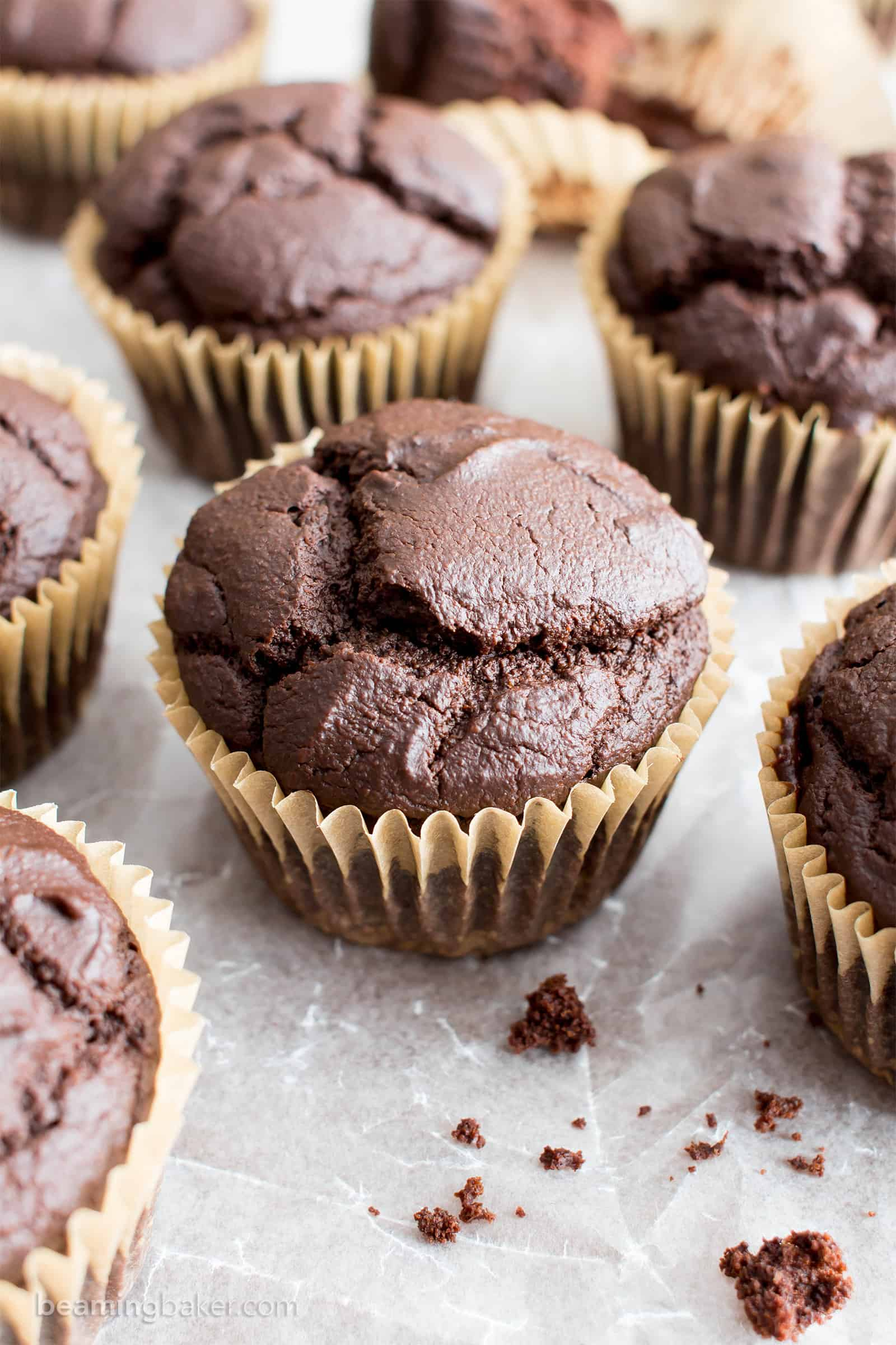 Gluten Free Chocolate Muffins: rich, deep dark vegan chocolate muffins with a beautiful rise. Dairy-Free. #GlutenFree #Vegan #Chocolate #Muffins | Recipe at BeamingBaker.com