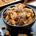 Grain Free Granola: this paleo granola recipe yields chunky granola clusters! The best grain free granola recipe—grainless, delicious, no grain granola. #GrainFree #Paleo #Grainless #Granola | Recipe at BeamingBaker.com