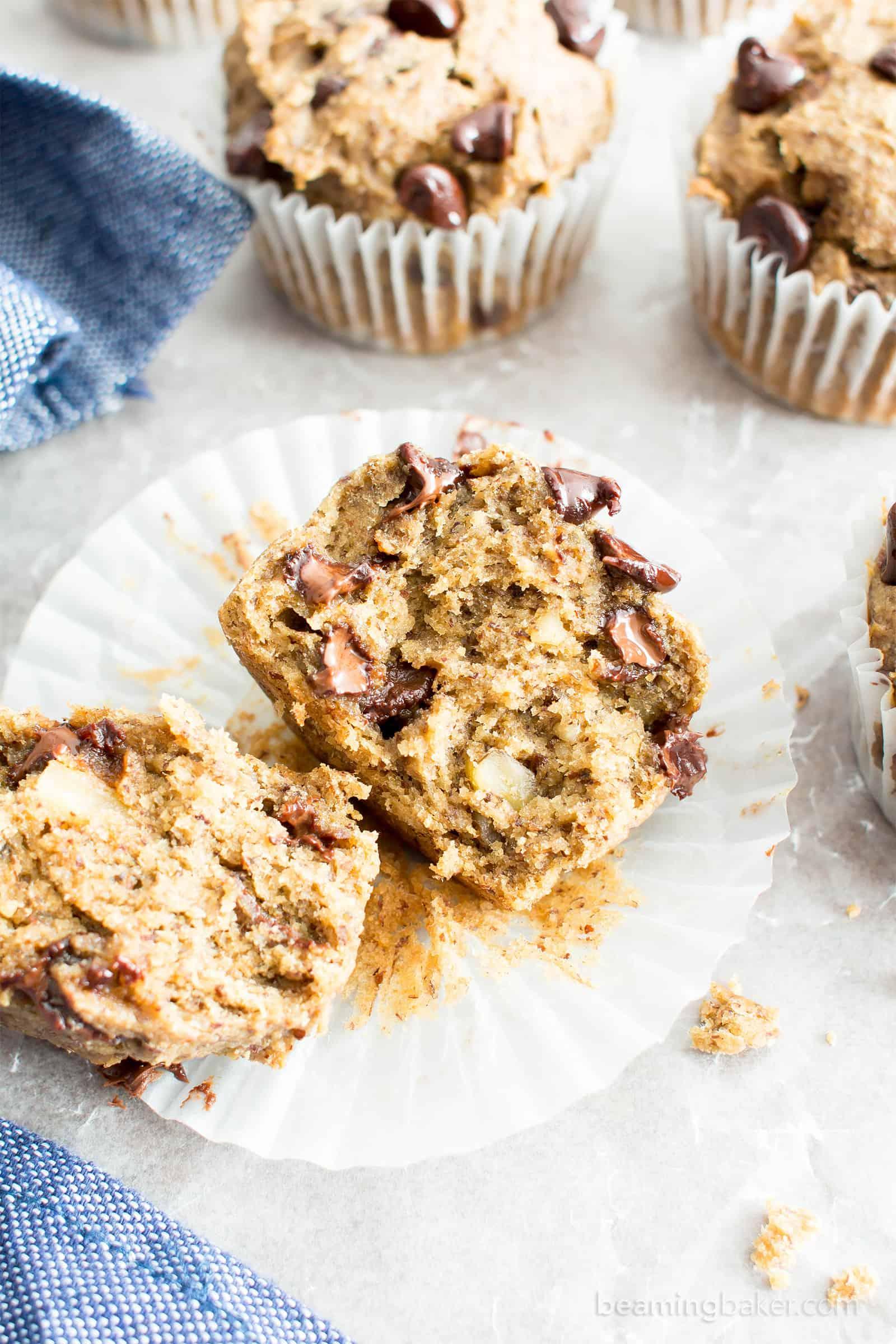 Moist Banana Chocolate Chip Muffins (V, GF): a one bowl recipe for perfectly moist banana muffins bursting with chocolate chips! #Vegan #GlutenFree #DairyFree #Breakfast #Dessert | Recipe on BeamingBaker.com