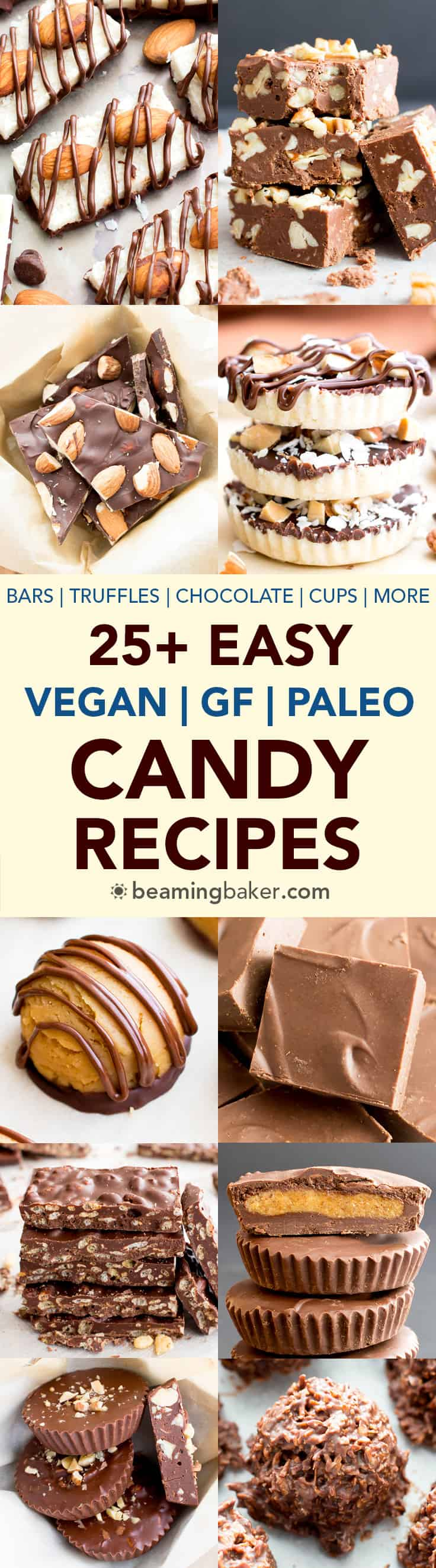 25+ Easy Gluten-Free Vegan Candy Recipes (V, GF): A super sweet collection of seriously easy homemade candy recipes to satisfy sweets lovers everywhere! #Vegan #GlutenFree #DairyFree #Paleo #Candy #Dessert | Recipe Roundup on BeamingBaker.com