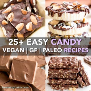25+ EasyGluten-Free Vegan Candy Recipes (V, GF): A super sweet collection of seriously easy homemade candy recipes to satisfy sweets lovers everywhere! #Vegan #GlutenFree #DairyFree #Paleo #Candy #Dessert | Recipe Roundup on BeamingBaker.com