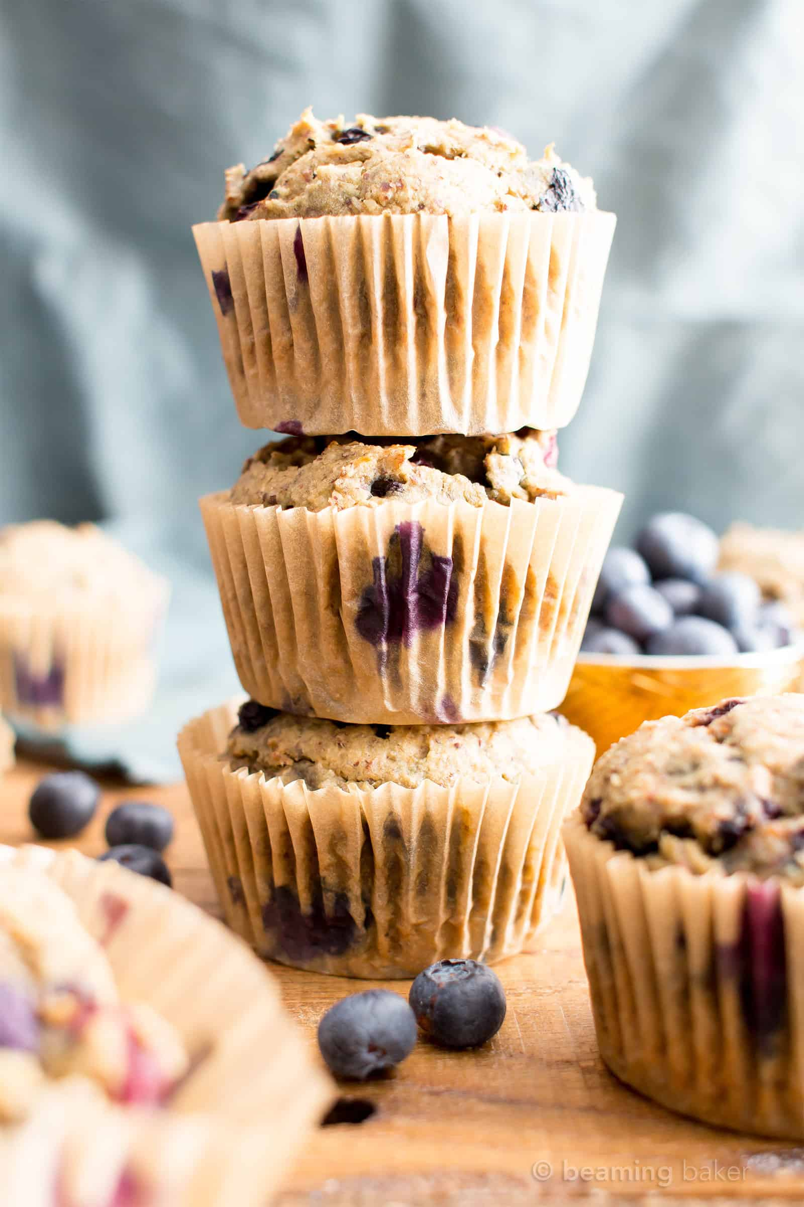 Healthy Banana Blueberry Muffins Recipe (V, GF): an easy recipe for moist banana muffins bursting with fresh blueberry flavor! #Vegan #GlutenFree #DairyFree #Breakfast #Healthy | Recipe on BeamingBaker.com