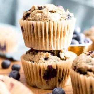 Healthy Banana Blueberry Muffins Recipe (V, GF): an easy recipe for moist banana muffins bursting with fresh blueberry flavor! #Vegan #GlutenFree #DairyFree #Breakfast #Healthy | Recipe on BeamingBaker.com