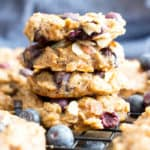 Gluten Free Blueberry Banana Almond Breakfast Cookies (V, GF): a one bowl recipe for delightfully chewy banana breakfast cookies bursting with juicy blueberries and crunchy almonds. #Vegan #GlutenFree #DairyFree #Cookies #Breakfast #Blueberries | Recipe on BeamingBaker.com