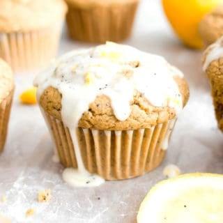 Vegan Lemon Poppy Seed Muffins (Gluten Free): an easy recipe for moist 'n fluffy vegan lemon poppy seed muffins—perfectly sweet 'n tart! Gluten Free. #Vegan #Lemon #PoppySeed #GlutenFree #Muffins | Recipe at BeamingBaker.com