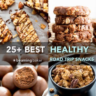 25+ Best Healthy Road Trip Snacks Recipes (V, GF): a tasty collection of the best healthy recipes for sweet and satisfying road trip snacks! #Vegan #GlutenFree #DairyFree #RefinedSugarFree #Snacks #NoBake | Recipes on BeamingBaker.com