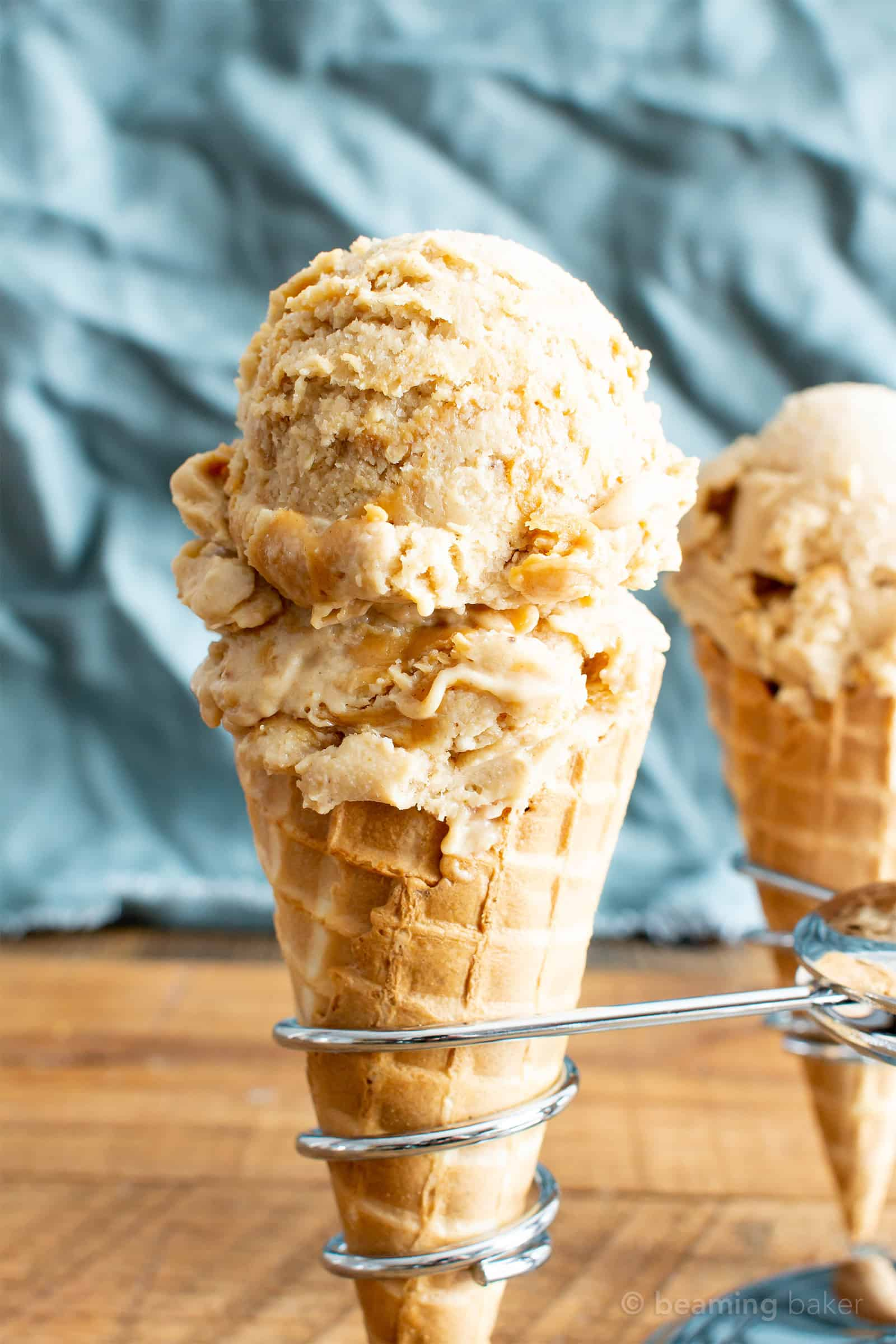 4 Ingredient Banana Peanut Butter Swirl Ice Cream (V, GF): my favorite easy, no-churn recipe for delightfully sweet and creamy vegan ice cream bursting with peanut butter flavor! #Vegan #GlutenFree #DairyFree #PeanutButter #Dessert #IceCream | Recipe on BeamingBaker.com