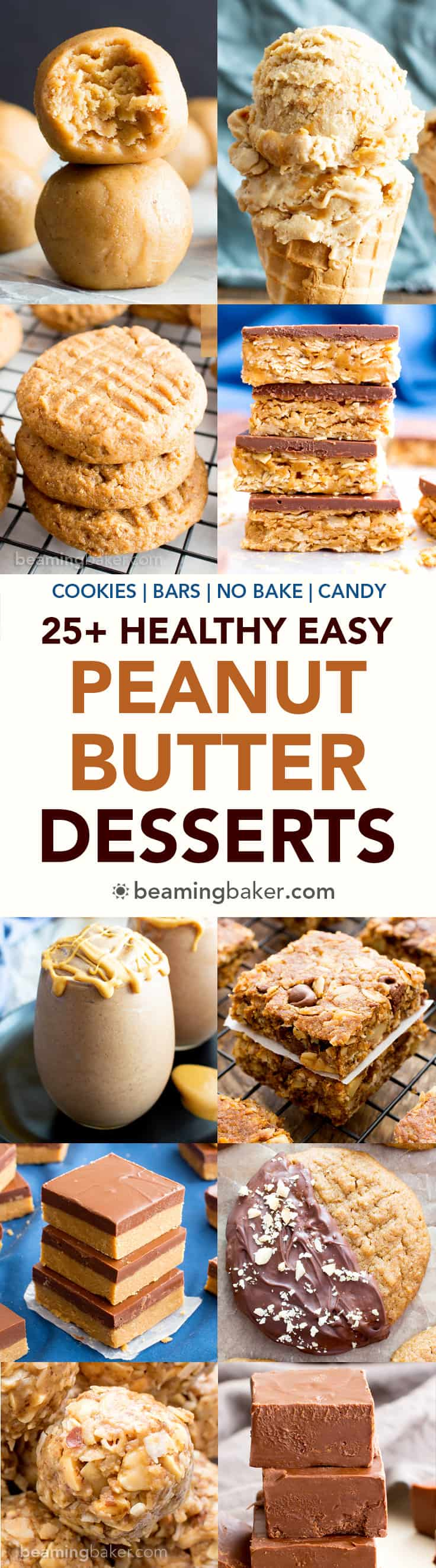 25+ Healthy Easy Peanut Butter Desserts Recipes (V, GF): a seriously sweet collection of the best healthy desserts bursting with peanut butter deliciousness! #Vegan #GlutenFree #DairyFree #RefinedSugarFree #Desserts #PeanutButter | Recipes on BeamingBaker.com