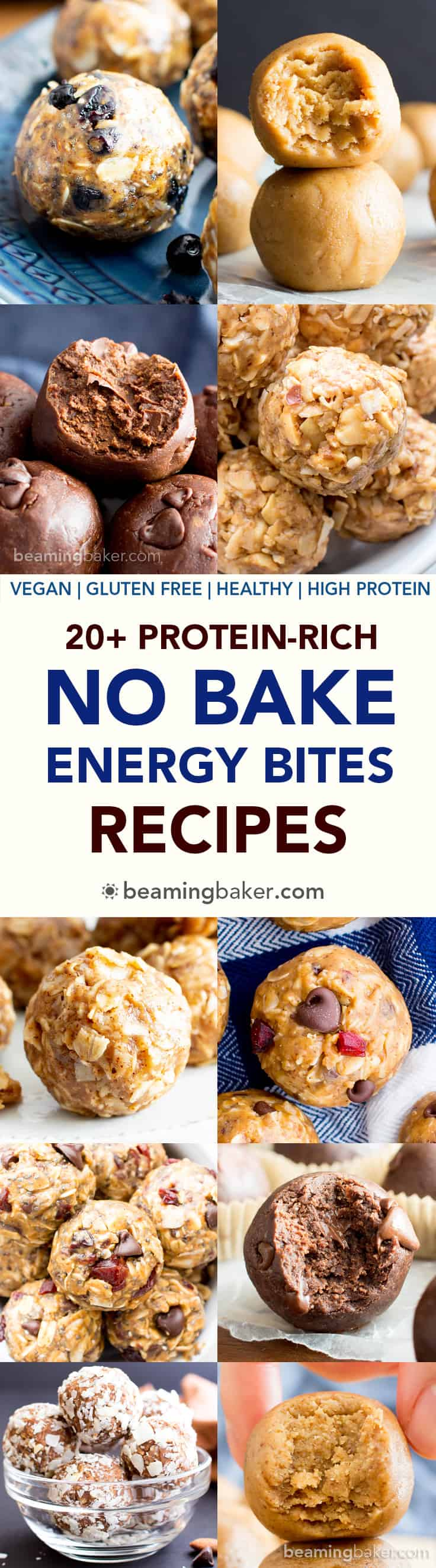 20+ Easy No Bake Energy Bites Recipes (V, GF): the best collection of healthy and tasty no bake energy bites recipes! Perfect for meal prep, on the go breakfasts, workout snacks and more! #Vegan #GlutenFree #DairyFree #RefinedSugarFree #Healthy #NoBake #Snacks | Recipes on BeamingBaker.com