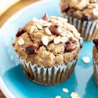 Banana Oatmeal Chocolate Chip Muffins (Vegan, Gluten Free, Dairy-Free, Refined Sugar-Free)