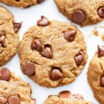 Gluten Free Peanut Butter Chocolate Chip Cookies (V, GF): an easy recipe for perfectly soft 'n chewy chocolate chip cookies packed with peanut butter flavor! #Vegan #GlutenFree #DairyFree #PeanutButter #Cookies #Dessert #ChocolateChip | Recipe on BeamingBaker.com
