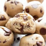 5 Ingredient Chocolate Chip Cookie Dough Bites Recipe (V, GF): a quick 'n easy recipe for decadent no bake cookie dough bites made with healthy gluten free ingredients and PLENTY of chocolate!! #Vegan #GlutenFree #DairyFree #RefinedSugarFree #CookieDough #ChocolateChips #VeganDesserts #GlutenFreeDesserts #HealthyDesserts #NoBake #NoBakeBites | Recipe at BeamingBaker.com
