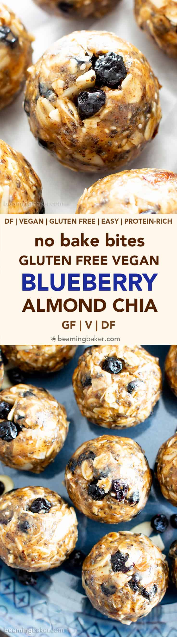 No Bake Blueberry Almond Chia Energy Bites (V, GF): a quick 'n easy snack recipe for protein-rich no bake bites made with your favorite healthy ingredients! #Vegan #GlutenFree #ProteinRich #HealthySnacks #NoBake #Blueberries | Recipe at BeamingBaker.com