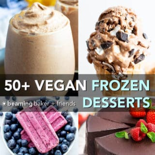 50+ Irresistible Vegan Frozen Dessert Recipes (V, GF): an amazing collection of mouthwatering recipes for the best paleo, gluten-free, vegan frozen desserts, from ice cream and popsicles to milkshakes and more! #Vegan #GlutenFree #DairyFree #RefinedSugarFree #Desserts #IceCream #Popsicles | Recipes on BeamingBaker.com
