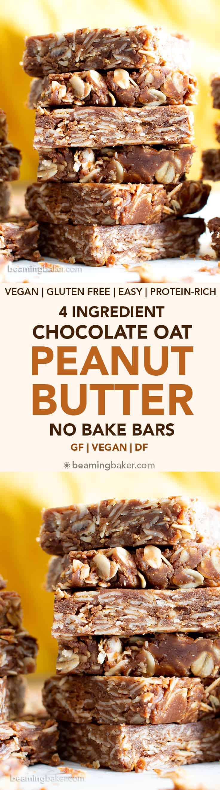4 Ingredient No Bake Chocolate Peanut Butter Oatmeal Bars (V, GF): a quick 'n easy recipe for protein-packed no bake oatmeal bars bursting with chocolate and peanut butter flavors! Made with whole ingredients. #Vegan #GlutenFree #DairyFree #ProteinPacked #Healthy #Snacks #NoBake #Chocolate #PeanutButter | Recipe at BeamingBaker.com