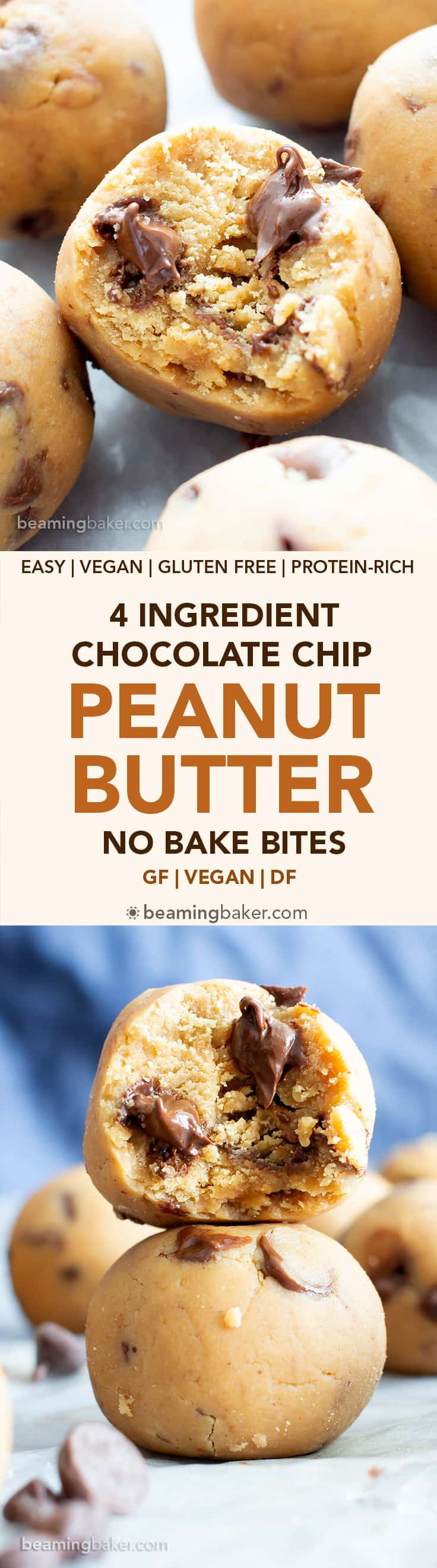 4 Ingredient Peanut Butter Chocolate Chip No Bake Energy Bites (V, GF): a one bowl recipe for easy gluten-free no bake energy bites that taste like dessert, but are actually a healthy snack! #Vegan #GlutenFree #DairyFree #PeanutButter #NoBake #Snacks | Recipe on BeamingBaker.com