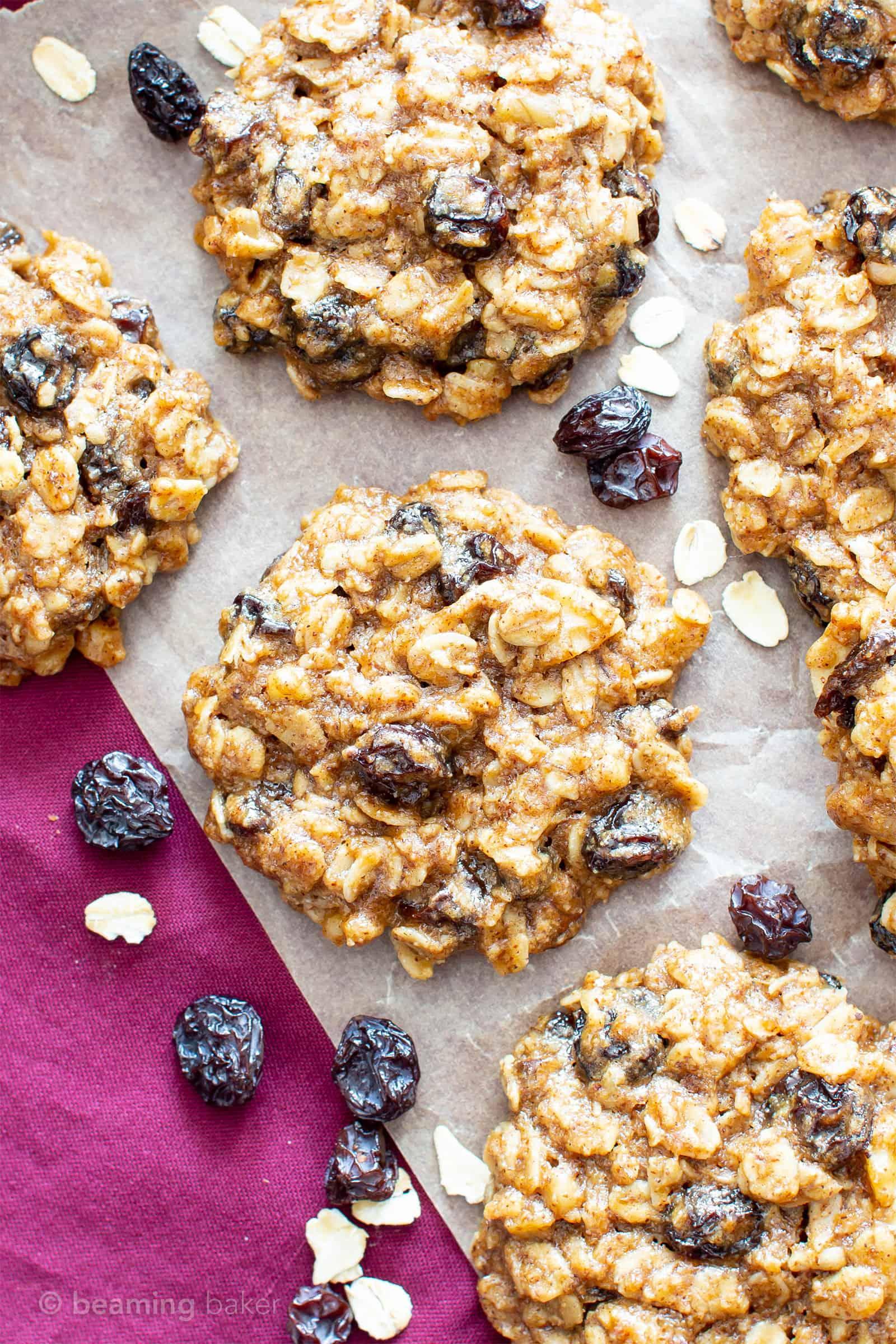 Chewy Oatmeal Raisin Cookie Recipe (V, GF): my favorite easy recipe for moist and chewy oatmeal cookies bursting with plump raisins and amazing flavor! #Vegan #GlutenFree #OatmealRaisin #Cookies #DairyFree #Healthy #HealthyCookies | Recipe at BeamingBaker.com