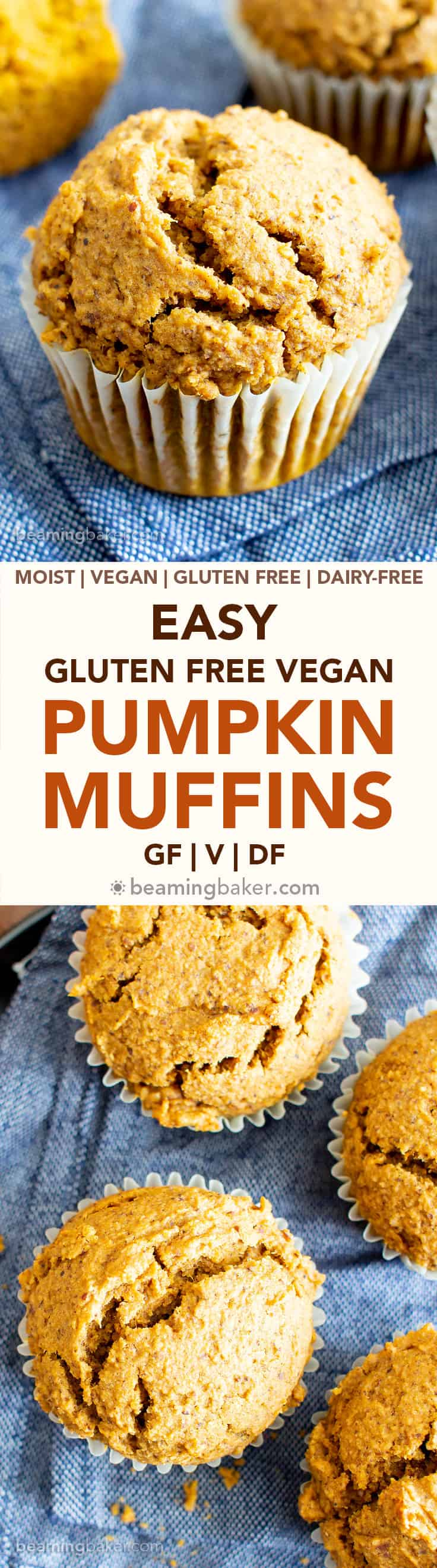 Easy Vegan Gluten Free Pumpkin Muffins Recipe (V, GF): an easy recipe for moist 'n fluffy pumpkin muffins bursting with your favorite fall spices. Made with healthy, whole ingredients. #Vegan #GlutenFree #Pumpkin #Muffins #PumpkinSpice #DairyFree #Healthy #Fall #RefinedSugarFree | Recipe at BeamingBaker.com