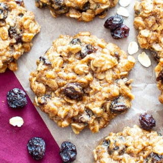 Chewy Oatmeal Raisin Cookie Recipe (V, GF): my favorite easy recipe for moist and chewy oatmeal cookies bursting with plump raisins and amazing flavor! #Vegan #GlutenFree #OatmealRaisin #Cookies #DairyFree #Healthy #HealthyCookies | Recipe at BeamingBaker.com