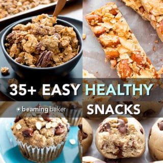 35+ Easy Healthy Snack Recipes (V, GF): an amazing collection of the best quick and easy healthy homemade snack recipes! Featuring no bake bites, granola bars, breakfast cookies and more! #Vegan #GlutenFree #DairyFree #RefinedSugarFree #Healthy #Snacks | Recipes on BeamingBaker.com