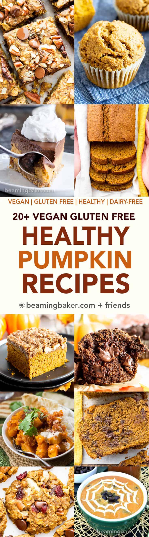 20+ Healthy Gluten Free Vegan Pumpkin Recipes (V, GF): a fantastically festive collection of the best vegan gluten free pumpkin recipes! Healthy pumpkin bread, pumpkin cookies, pumpkin pie, and more! #Vegan #GlutenFree #DairyFree #RefinedSugarFree #Fall #Pumpkin #BeamingBaker | Recipes on BeamingBaker.com