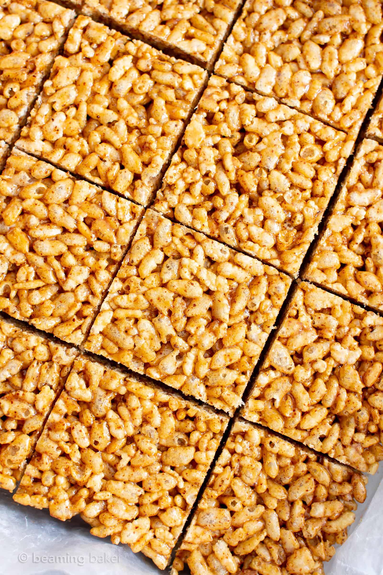 3 Ingredient Healthy Vegan Rice Crispy Treats (V, GF): a chewy homemade vegan rice krispy treats recipe, made with whole, gluten-free, protein-rich ingredients. #RiceCrispyTreats #ProteinPacked #Vegan #GlutenFree #CleanEating #Snacks #HealthySnacks   Recipe at BeamingBaker.com