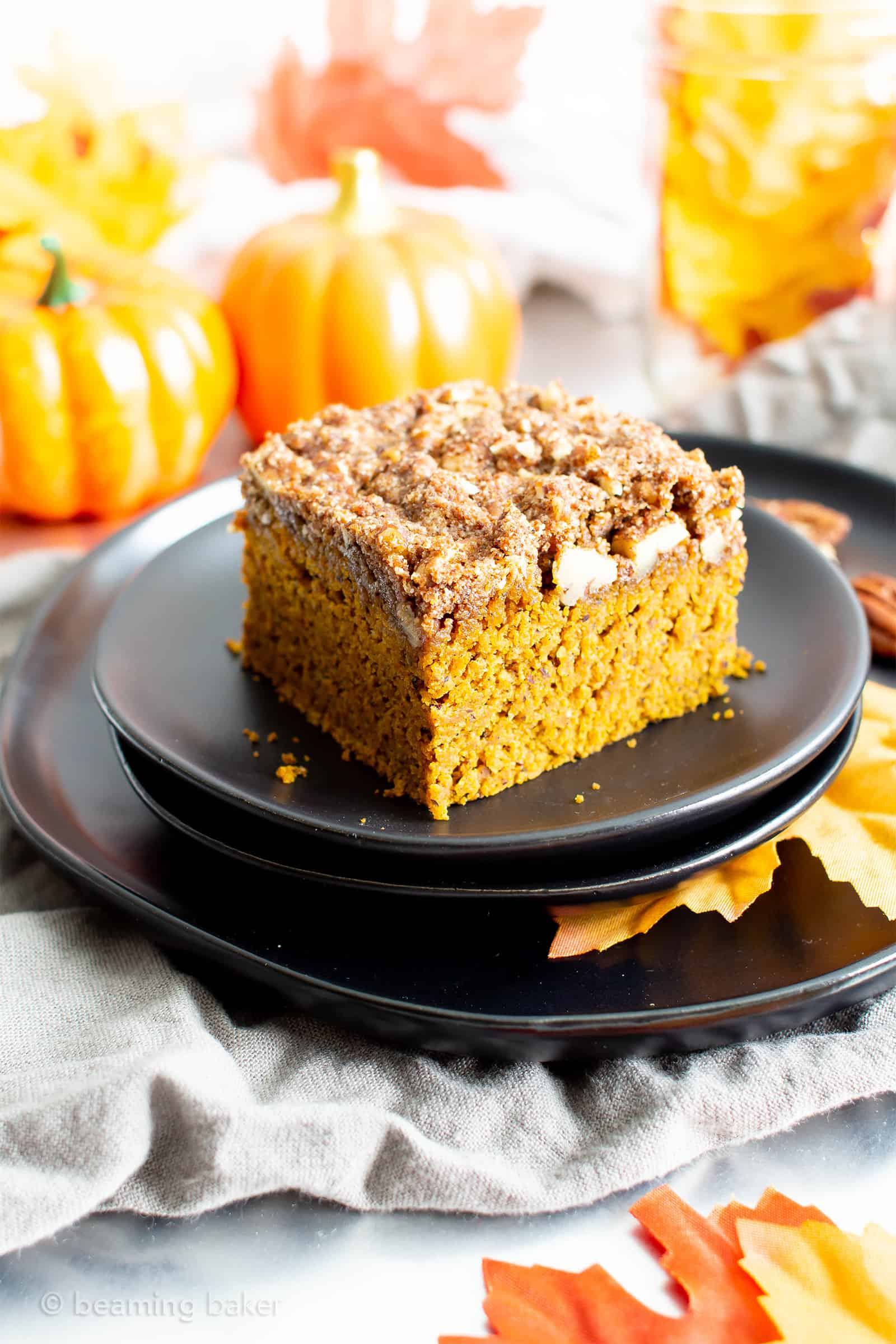 12 Easy Vegan Thanksgiving Dessert Recipes (GF): this year, gather round these amazingly tasty + wonderfully easy vegan thanksgiving dessert recipes! Featuring pumpkin bread, apple crisps, coffee cakes and more! #Vegan #GlutenFree #Thanksgiving #Dessert | Recipes on BeamingBaker.com