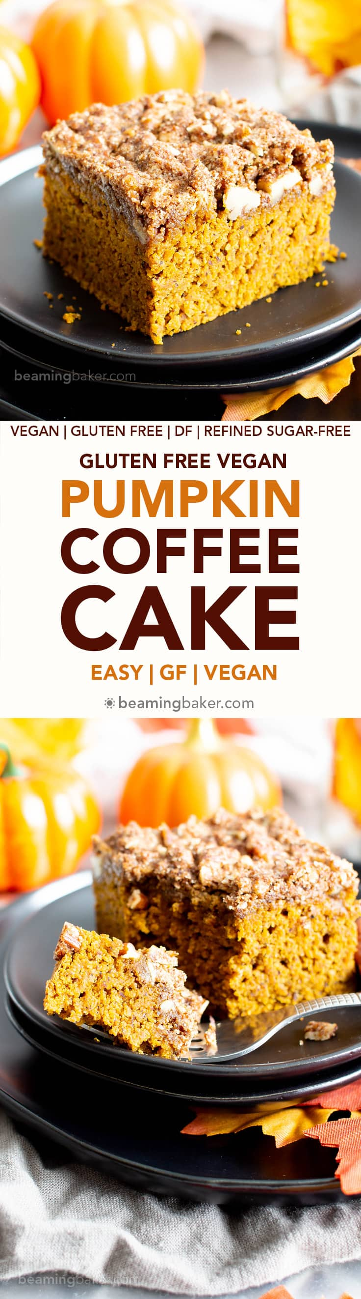 Easy Gluten Free Vegan Pumpkin Coffee Cake Recipe (V, GF): a thick layer of moist pumpkin coffee cake with a cinnamon sweet, buttery-rich topping. Made with healthy, whole ingredients. #Vegan #GlutenFree #CoffeeCake #Pumpkin #VeganBaking #CleanEating #Fall #PumpkinSpice #HealthyDessert #VeganGlutenFree | Recipe at BeamingBaker.com